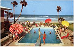 Poolside at the Rio Beach Motel, Daytona Beach, Florida Vintage Florida, Old Florida, Daytona Beach Florida, Vintage Hotels, Vintage Travel, Rio, Last Day Of Summer, Hotel Motel, Bathing Beauties