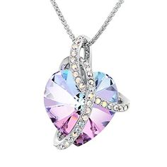 """50% OFF SALE PRICE - $27.99 - Sue's Secret """"Courageous Heart"""" Gradient Purple Noble Heart Pendant Necklace with Crystals from Swarovski"""