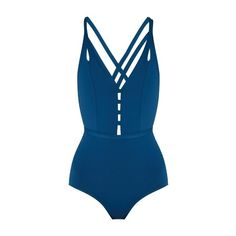 Ephemera Crossed double-strap swimsuit (9.235 RUB) ❤ liked on Polyvore featuring swimwear, one-piece swimsuits, blue, highwaisted swimsuits, strappy bathing suit, high waisted swim suit, high rise one piece swimsuit and swim suits