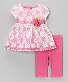 Look what I found on Sweet Heart Rose Pink Lace Cap-Sleeve Dress & Leggings - Toddler & Girls by Sweet Heart Rose Fashion Kids, Toddler Fashion, Baby Girl Dresses, Baby Dress, Toddler Girl Style, Toddler Girls, Baby Kids Clothes, Clothes For Women, Lace A Line Dress
