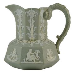 Antique Molded Milk Jug with Classical Relief... Jasper Ware