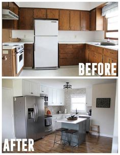 Affordable Kitchen Remodel. See how a family flipped this entire house in 5 months, transforming every inch! www.BrightGreenDoor.com