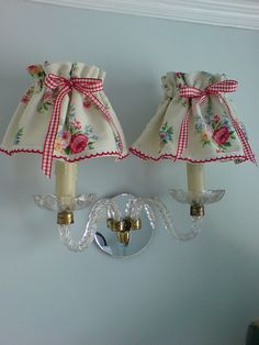 here's the pair of cute barkcloth lampshades together: by prettyshabby on flickr