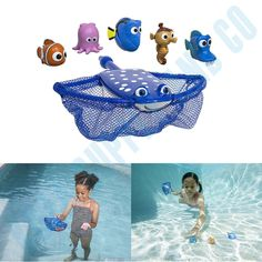 Finding Dory Disney Movie Swim Catch Fish Toy Game Playset Nemo Mr. Ray Toys Set #SwimWays