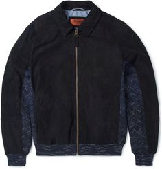 Missoni SUEDE AND ZIGZAG-KNIT COTTON AND WOOL-BLEND BOMBER JACKET