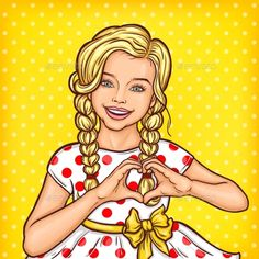 Vector pop art illustration of a smiling little girl showing heart sign
