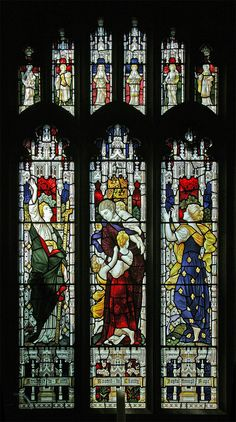 https://flic.kr/p/FETw2W | Faith, Hope, & Charity, Cardington | Stained glass window in the parish church of St. Mary, Cardington, Bedfordshire. This is a rather fine depiction of the personifications of Faith, Hope, and Charity, with their usual attributes.