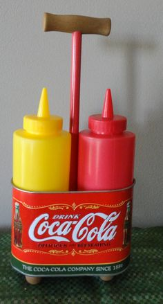Vintage Coca Cola Mustard and Ketchup Tin Caddy by tennesseehills, $8.00