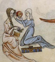 Donna che si pettina – decorazione dai margini del Salterio di Luttrell, Inghilterra, XIV secolo.