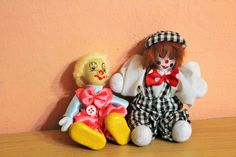 Pair Of Vintage Porcelain Circus Clown Doll, Clown Figurine, Collectible Home Decor by Grandchildattic on Etsy