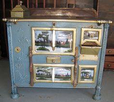 Art Nouveau French Enamel Cast Iron Cook Stove Hand Painted Panels Range