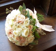 Peaches and cream all rose bridal bouquet. #weddings, #flowers, #bouquet