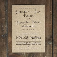 Calligraphy Wedding Invitation Set on Recycled by FeelGoodInvites