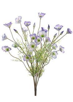 "Faux California Poppy Flower Bush in Purple Cream<br>10.5"" Wide x 22"" Tall"