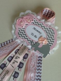elephant baby shower corsagepink and grey by more