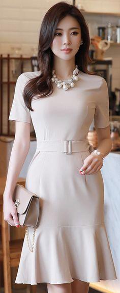 StyleOnme_Short Sleeve Belted Flounced Dress #beige #chic #feminine #spring #dress #koreanfashion #kstyle #kfashion #seoul #dailylook