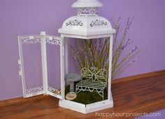 Use a lantern as a fairy garden!