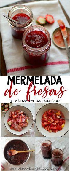 Cómo hacer mermelada casera de fresas; la fruta se macera por algunas horas con azúcar y limón; al cocerlas se agrega vinagre balsámico, es deliciosa!