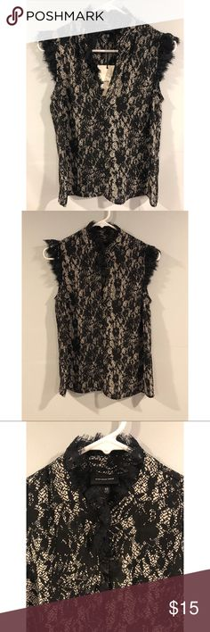 NWT Who What Wear Sleeveless Blouse Beautiful silky lace pattern blouse. Fits like a small. Tops Blouses