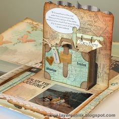 Pop-up Layout by Anna-Karin using the Pop 'n Cuts Suitcase Insert in the Pop 'n Cuts Square Card Base with the Bigz Suitcase and (clever!) the Flagpole die. Layers of ink: CSI case file #75 - Travel