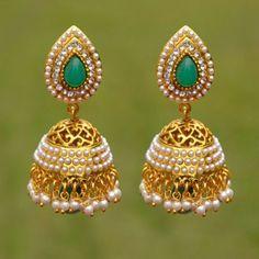 IKJ945 Jhumki Indian Ethnic Earrings Style Gold Tone Latest Fashion Party Wear