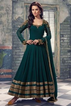 Georgette+Lace+Work+Green+Semi+Stitched+Long+Anarkali+Suit+-+6048 at Rs 3999