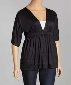 Another great find on #zulily! Black V-Neck Top - Plus #zulilyfinds