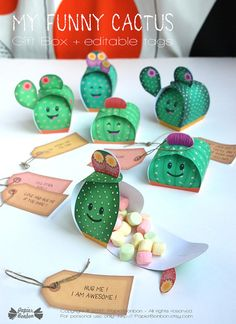 Print & create 6 cactus favor boxes and there editable tags for a cactus party.  Come closer and dont worry you wont get stung ! These little cactus fellows are real nice !  They will make funny favors for a party: Fill them with candies, chocolates or small gifts and edit your own text on the tag (in acrobat reader) to make extra special gift.   The cactus gift box come in 3 different shapes. Each box is unique with a different color, flower, spines & pot color. ---* MESURMENTS*--...