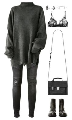 """""""Untitled #948"""" by romane-inspiration ❤ liked on Polyvore featuring Hudson, Yves Saint Laurent, Acne Studios, Kiki de Montparnasse, Topshop, Humble Chic, women's clothing, women, female and woman"""