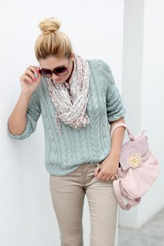 Pastel cable knit sweater