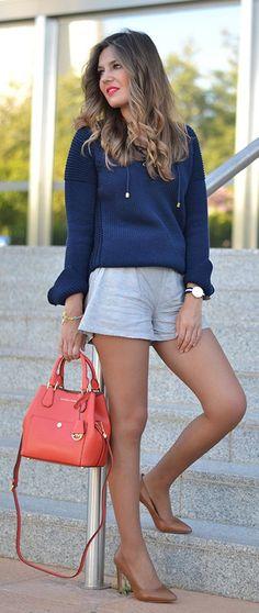 708ca02c32 Pinstriped Shorts Outfit Idea by Mi Aventura Con La Moda  micheal  kors   purses