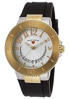 Swiss Legend Women's 11315SM-SG-02 Riviera Analog Display Swiss Quartz Black Watch. Date window at 6:00. Silver dial with gold tone, red and white hands, gold tone Arabic numerals; luminous; stainless steel bezel with gold tone top ring; screw-down gold tone ion-plated stainless steel crown; sapphitek crystal; stainless steel case; black silicone strap. Swiss-quartz Movement. Case Diameter: 43mm. Water Resistant To 330 Feet.