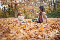 Lifestyle Fall Mother Son Portrait - Fall Leaves - Michelle Kersey Photography