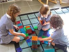Our friends are working together to sort the squares, as they collaborate about what they are going to construct. Picnic Blanket, Outdoor Blanket, Working Together, Photo A Day, Squares, Kids Rugs, Friends, Amigos, Kid Friendly Rugs