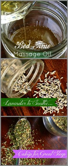 Herb infused bad time massage oil - YES PLEASE. Mad from dried lavender, dried catnip, olive oil and coconut oil. Baby Massage, Massage Oil, Massage Lotion, Healing Herbs, Natural Healing, Natural Medicine, Herbal Medicine, Herbal Remedies, Natural Remedies