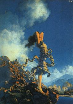 Maxfield Parrish. I LOVE his work!!!! It is always so lovely. I usually admire the sky the most in many of his pieces.