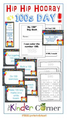 Make reading a part of your 100s day with this cute, printable book for young readers!  Hundreds Day Resources FREE from The Curriculum Corner | Center or Station Activity Cards | Certificate | Bookmarks |  100s Charts | 100s Day Booklet for Beginning Readers