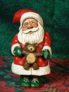 Santa with Teddy Bear. Original wood carving by Oregon artist, Jani Brown.  eBay seller:  janijims-at-homeOriginal wood carving by Oregon artist, Jani Brown.  eBay seller:  janijims-at-home