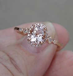 1 ct. Morganite Solitaire and Diamond Ring 14K Rose Gold Ring 1 Carat Morganite