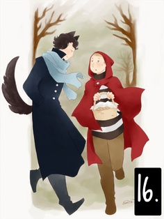 """Stessa idea per questo omaggio alla serie BBC """"Sherlock"""". Qui abbiamo la fusione di due temi iconografici: la fiaba da una parte (mantello rosso, cestino, coda, orecchie, foresta), e la TV dall'altra (maglione a righe, mantello, sciarpa). L'immagine è rivolta ai fan della serie, e il messaggio è chiaro nella scelta della cornice: uno Sherlock pericoloso che seduce (perché Cappuccetto Rosso è tradizionalmente una ragazza) un John un po' intimorito."""