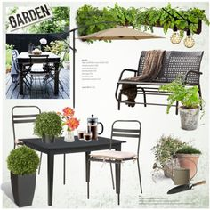 Garden time by helenevlacho on Polyvore featuring polyvore, interior, interiors, interior design, home, home decor, interior decorating, Home Styles, Dot & Bo and Crate and Barrel
