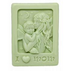 """Molde para hacer jabón Pastilla """"I love mom"""" para hacer detalles de bautizo."""