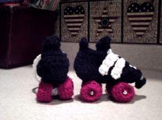 Crochet Roller Skates Pattern | Roller Derby racing skate looks like Reidell Infant Newborn Baby ...