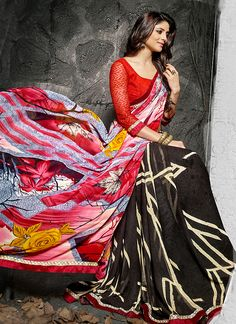 Real splendor will come out as a outcome of the dressing style with this Black Georgette Saree. The ethnic Lace & Printed work at the clothing adds a sign of attractiveness statement with your look. Buy Online Designer Ethnic Saree, Casual Wear, Daily Wear, Party Wear, Kitty Party Wear, Sarees, Shari, Sari, Indian Saris For women. We have large range of Designer Printed Sarees Online in our website with the best pricing and unique designs shipping to World Wide.