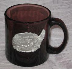 Eagle Purple Glass Coffee Mug Cup 12 Oz Isaiah 40:31 Scripture Spiritual #DH93