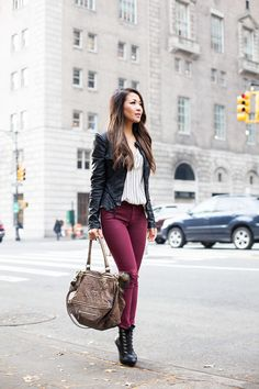 Wine :: Coated denim & Structured jacket :: Outfit ::  Top :: Blank jacket, Frame top Bottom :: Hudson Jeans Shoe :: Christian Louboutin Bag :: Givenchy Accessories :: Deborah Lippmann 'My old flame' polish, BaubleBar necklace Published: November 9, 2015