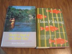 "FISHING BASS 2 Vintage Books Modern Book of the Black Bass by Byron W. Dalrymple - and - Complete Book of Bass Fishing by Grits Gresham. Find these at www.zibbet.com/ShopWithLynne I gotta love any man whose first name is ""Grits."""