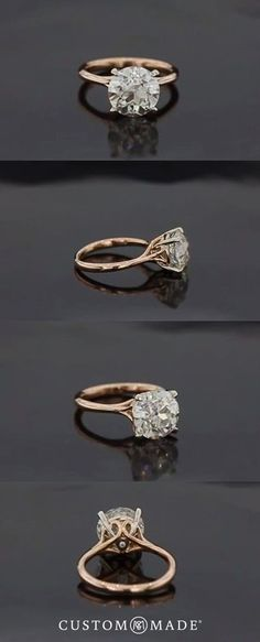Simple elegance with this classic engagement ring with a brilliant center stone set in cold. Work with out artists to design your own: https://www.custommade.com/custom-engagement-rings/
