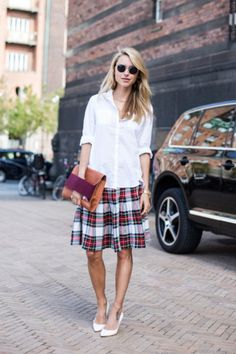 boyfriend shirt x plaid skirt