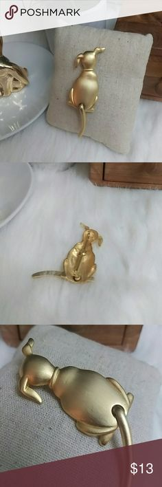 JJ wagging tail dog brooch Minor wear - light tarnish surface scratches  3 inches long Jewelry Brooches